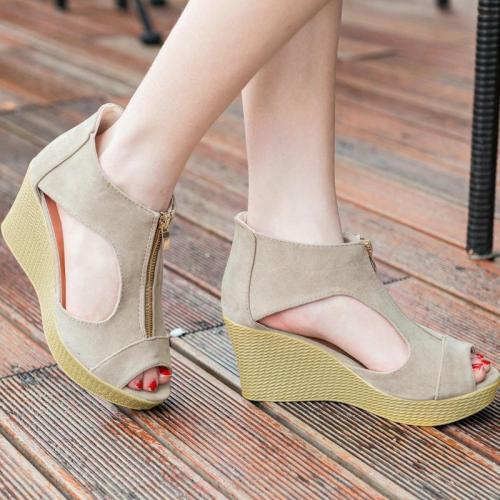 Zipper Flocking Casual Peep Toe Sandals