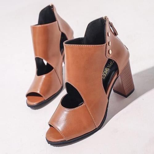 Women PU Pumps Casual Peep Toe Zipper Boots