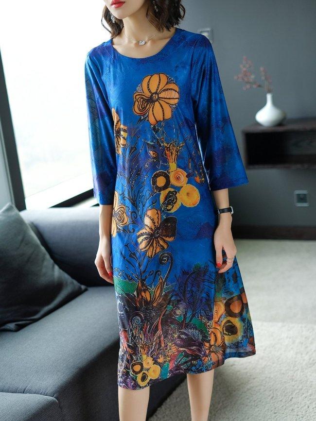 Royal blue Shift Daytime Casual Floral Plus Size Midi Dress