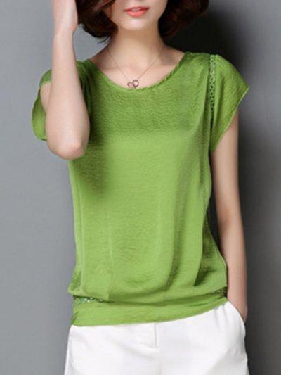 New Round Neck  Cutout  Plain Short Sleeve T-Shirts