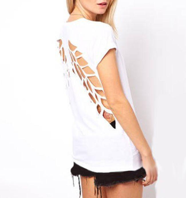 Angel Wings Short Sleeve 0-Neck Casual Shirts Backless