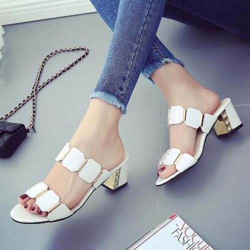 White Paillette Women's Chunky Heel Sandals