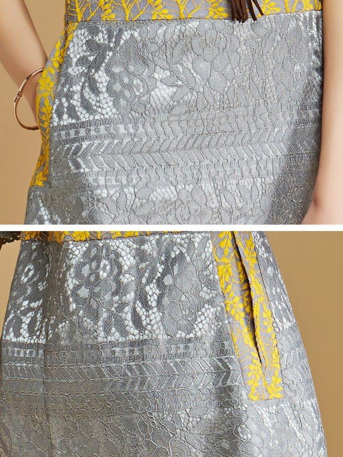 Yellow Bateau/boat Neck Half Sleeve Mini Dress