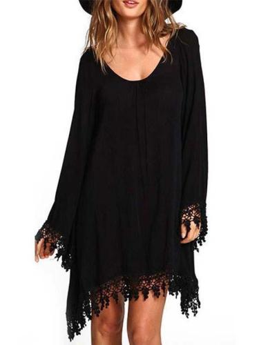 New Long Sleeved Chiffon Irregular Tassel Hem Shift Dress
