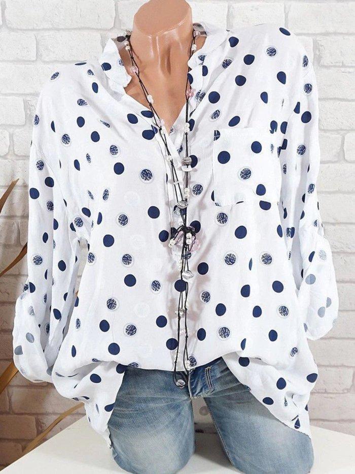 Polka Dots Stand Collar Long Sleeve Blouses & Shirt