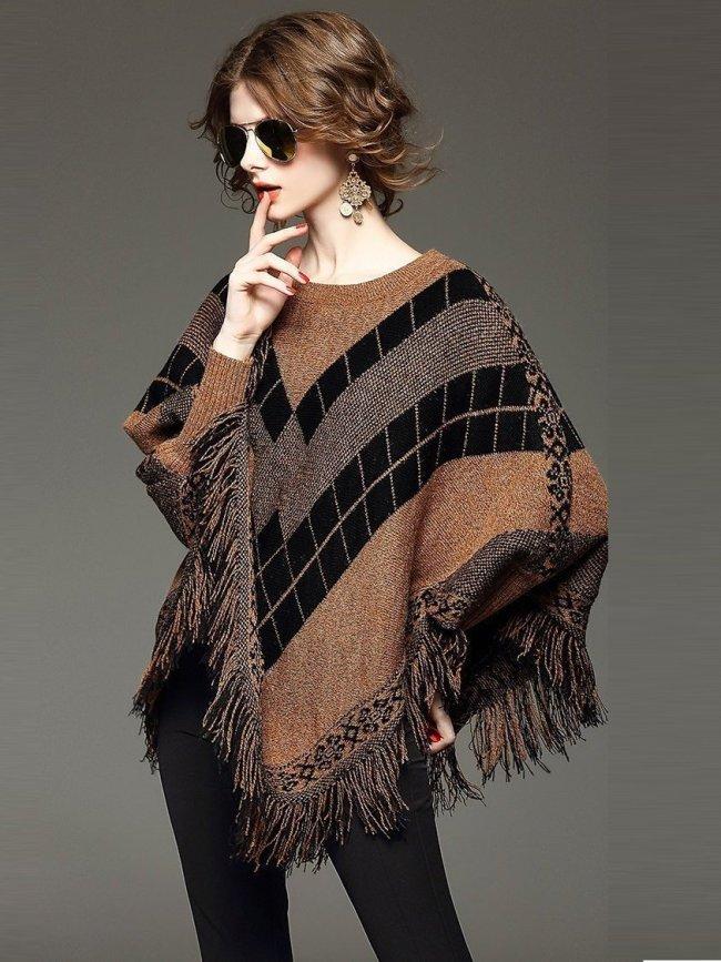 O-Neck Jacquard Tassel Cloak Batwing Pullovers Knitwear