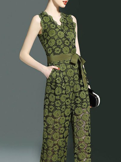 Army Green Plunging Neck Printed Sleeveless Chiffon Jumpsuit