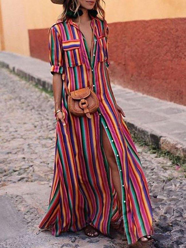 Holiday Half Sleeve Stripes A-line Midi Dress