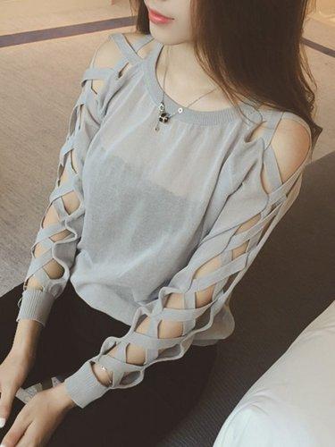 Casual Cutout Long Sleeve Solid Shirt