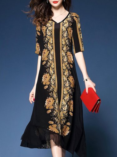 Asymmetrical Casual 3/4 Sleeve Printed Floral Plus Size Dress