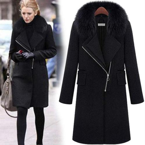 Women Winter Coat Faux Fur Collar Long Woolen Coat