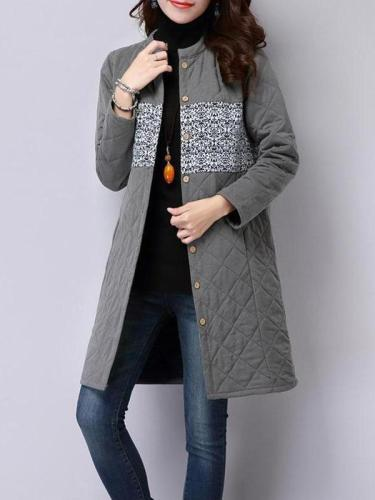 Ethnic Wind Thicker Cotton Stand Collar Coat