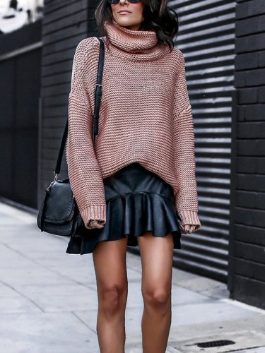High Neck Thick Plain Warm Woman Sweaters
