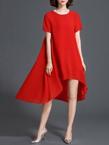 Chiffon Cool  Short Sleeve Shift Dress