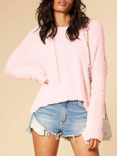 Cute Loose High-Low Plain Hoodie