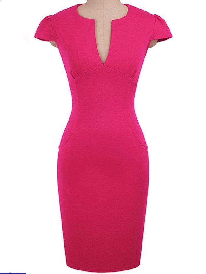 New Sweet Heart  Plain Bodycon Dress