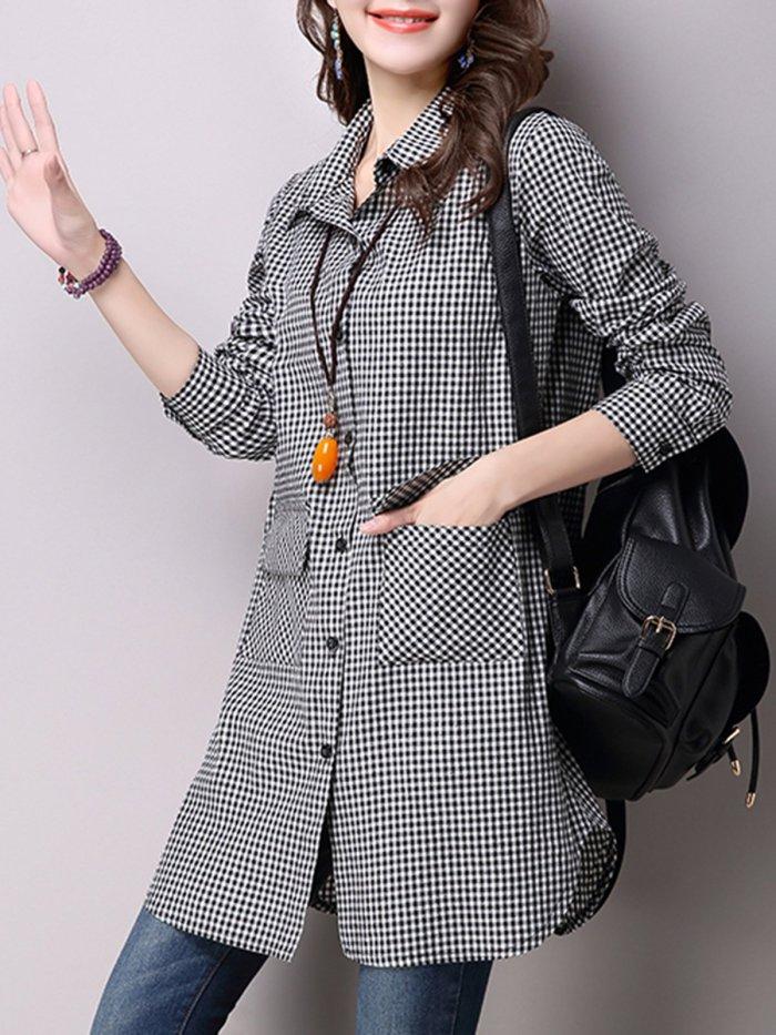 Black A-line Pockets Long Sleeve Checkered/Plaid Tunic