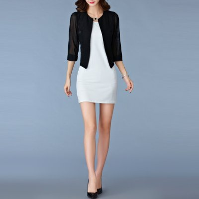 Elegant Pure Color Round Collar 3/4 Sleeve Slim Blazer
