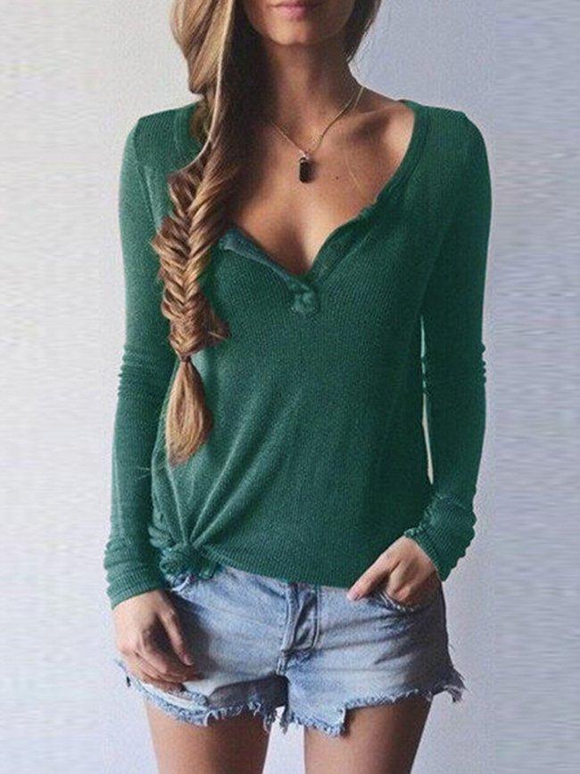 Long Sleeve V Neck Solid KnittedT-Shirt