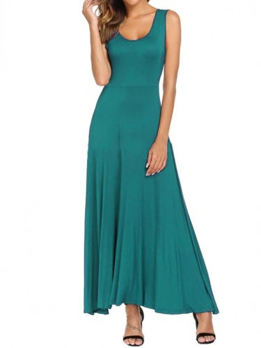 Round Neck  Plain Women Maxi Dress