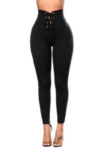 Black Lace-up High Waist Cincher Leggings