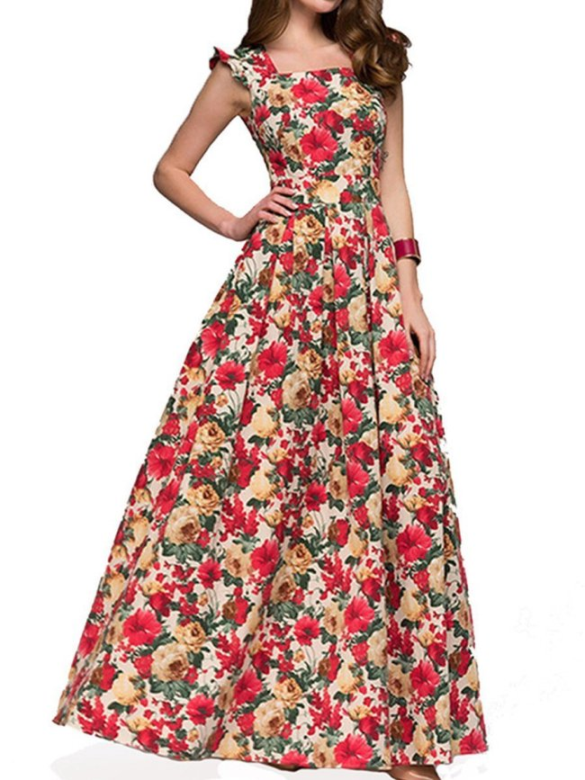 Woman Boat Neck  Floral Printed Maxi Dress