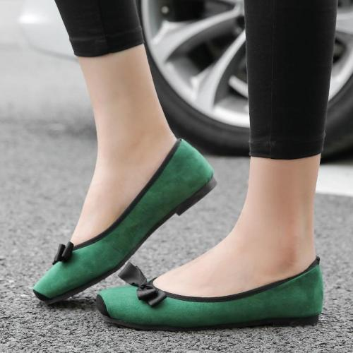 Women Slip-on Suede Flats Bowknot Soft Dress Ladies Shoes