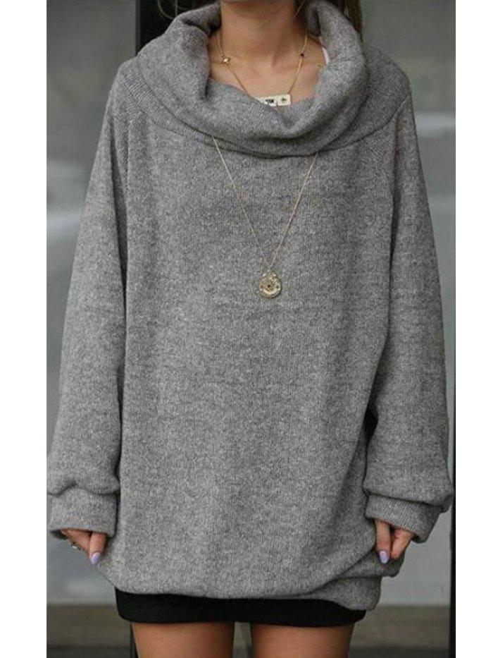 Autumn Spring  Cotton Blend  Cowl Neck  Plain  Long Sleeve Sweatshirts