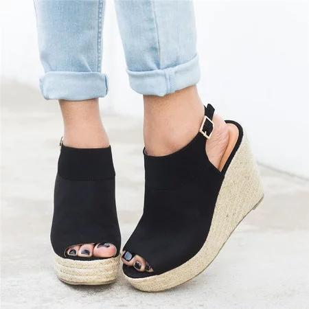 Buckle Strap Espadrille Wedges Woman Sandals