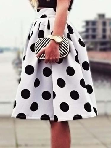 Casual Retro Polka Dot Skirts
