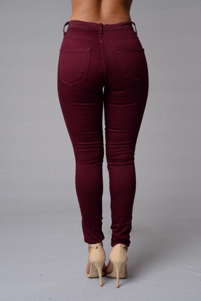 Zipper Pockets High Waisted Buttons Long Pants