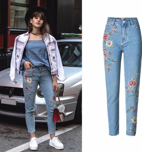 Flower Embroidery  High Waist Jeans Blue