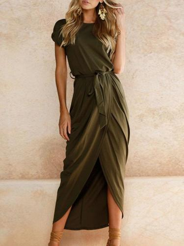 Asymmetric Hem  Plain  Short Sleeve Maxi  pure color Dresses