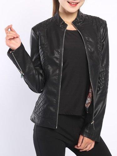 Band Collar  Plain PU Leather Jacket