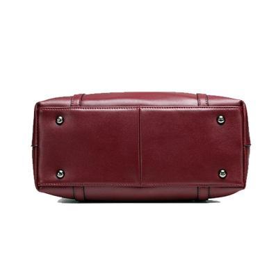 Soft Genuine Leather Solid Shoulder Handbag For Woman