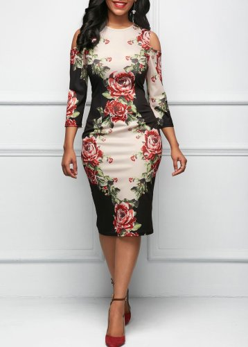 New Open Shoulder Floral Printed Bodycon Dress