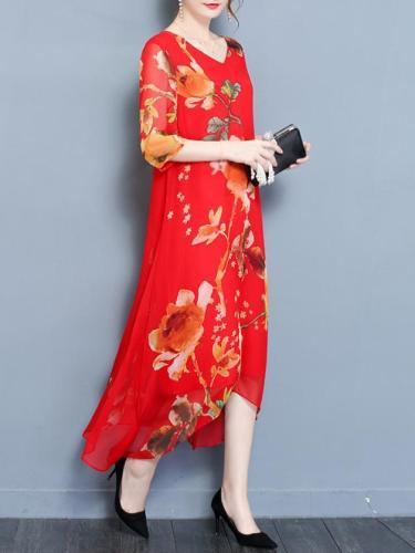 Half Sleeve Chiffon Boho Maxi Dress