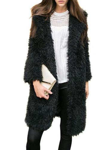 Furry Thick Warm Woolen Coat Solid Jackets Overcoat