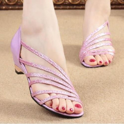 Plain  Chunky  Low Heeled  Peep Toe  Casual Sandals
