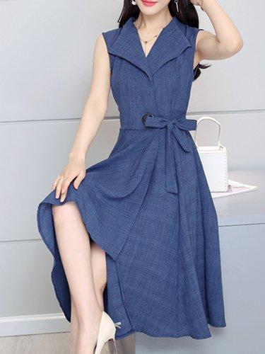 Solid Elegant Sleeveless Plus Size Skater Dresses