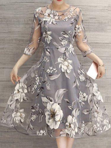 Fashion Floral Printed See-Through Midi Skater Dress