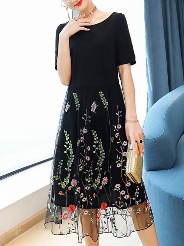 Black Crew Neck Casual Paneled Midi Dress