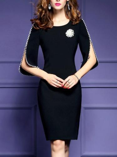 Elegant 3/4 Sleeve Crew Neck Midi Dress
