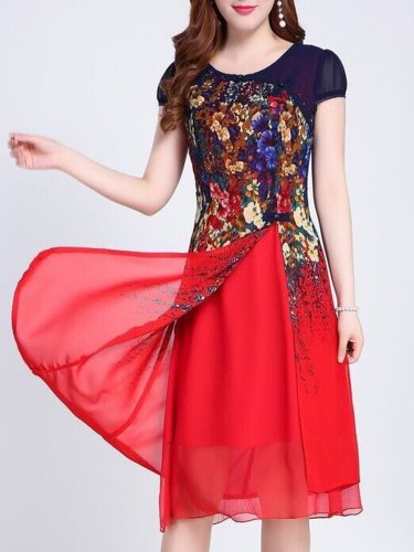 New Round Neck  Slit  Floral Printed Maxi Dress