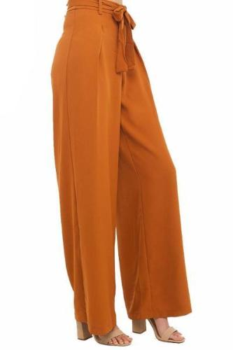 Orange Wide Leg Chiffon Palazzo High Waist Pants