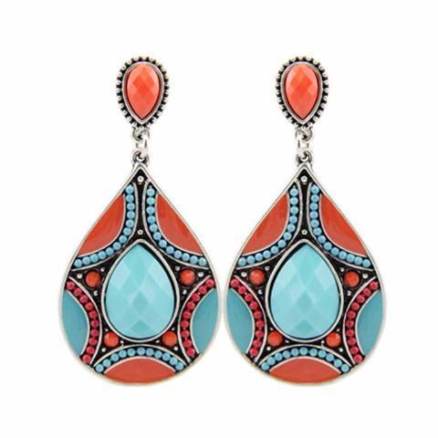 Ethnic Vintage Silver Plated Bead Large Bohemia Dangle Earrings For Women