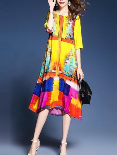 Fashion Colorful Round Neck Side Slit Printed Maxi Dress