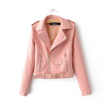 Women's Faux PU Leather Short Zipper Jacket Punk Coat Casual Outwear