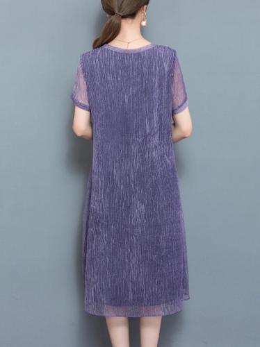 Purple Short Sleeve Plain Chiffon Shift Midi Dress