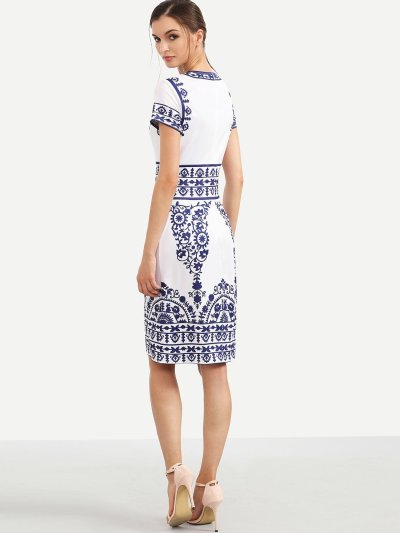 Porcelain Print Pencil Dress WHITE
